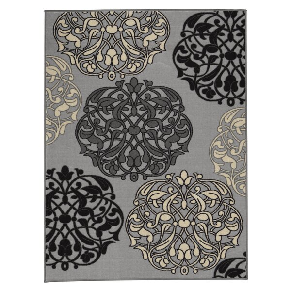 Somerford Abstract Rubberback Gray Indoor/Outdoor Area Rug by House of Hampton