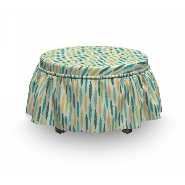 Crayon Effect Stripes Ottoman Slipcover (Set Of 2) By East Urban Home