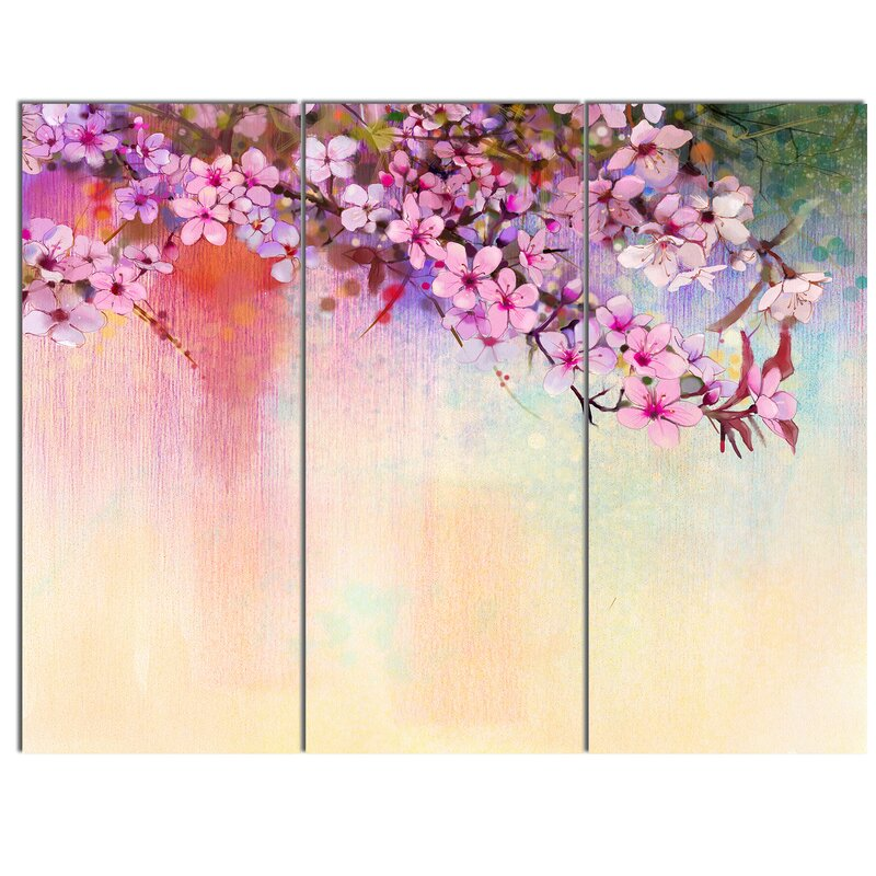 DesignArt \'Watercolor Painting Cherry Blossoms\' 3 Piece Wall Art on ...