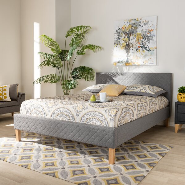Aneta Modern and Contemporary Upholstered Platform Bed by Wholesale Interiors