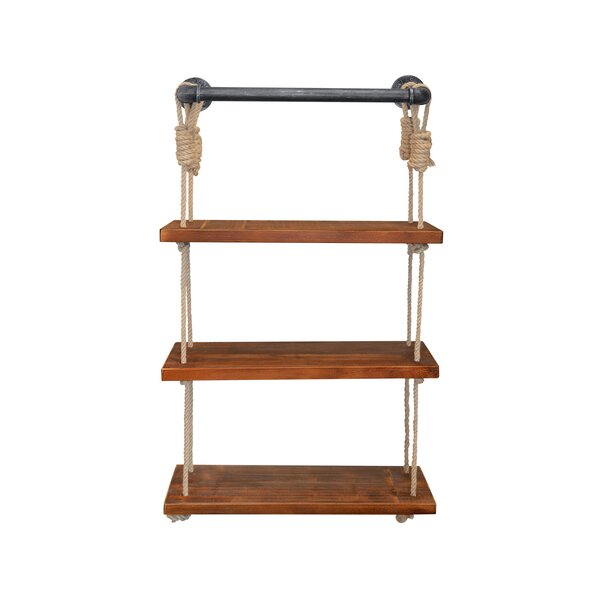 Castillon Industrial Modern Pipe Wall Shelf with Adjustable Rope by Bungalow Rose
