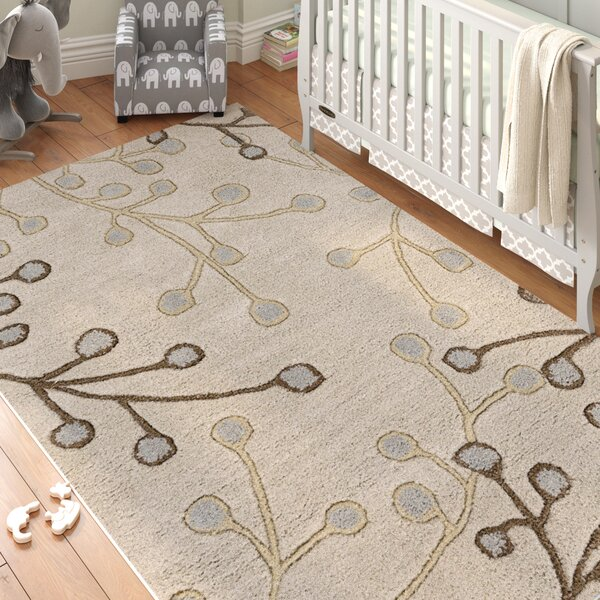 Layla Hand-Tufted Wool Beige/Light Blue Area Rug by Birch Lane™