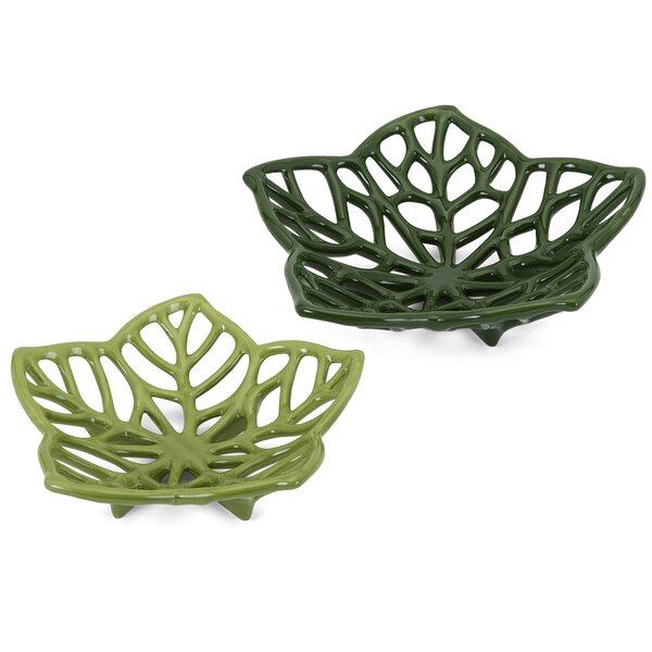 Green Ceramic Cutwork Leaves 2 Piece Sculpture Set by Bay Isle Home