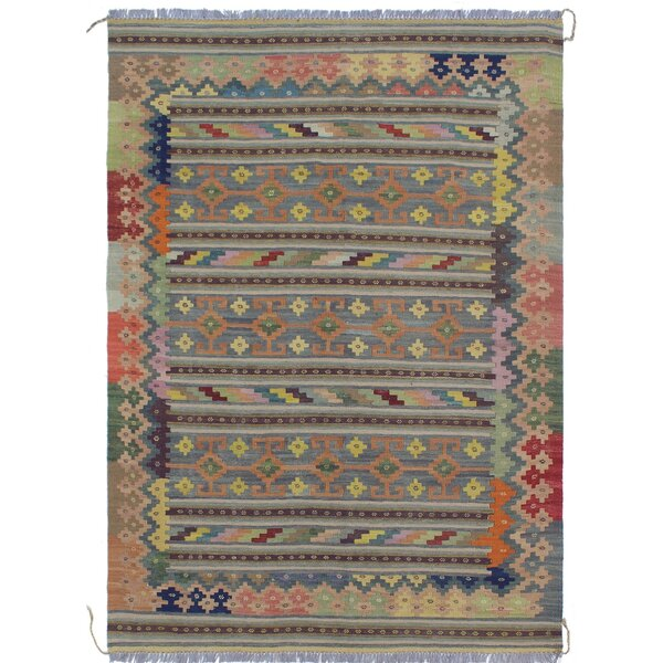 Rucker Kilim Hand Woven Wool Gray/Ivory Area Rug by Bungalow Rose
