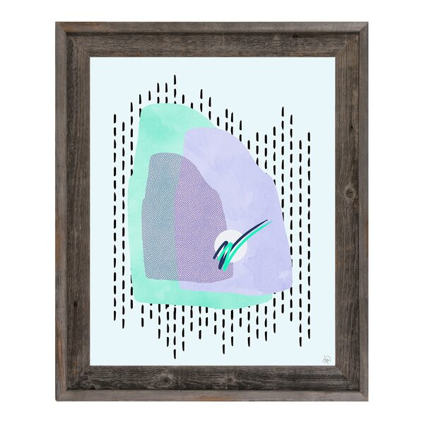 Retro Landscape Teal Framed Graphic Art on Canvas by Click Wall Art
