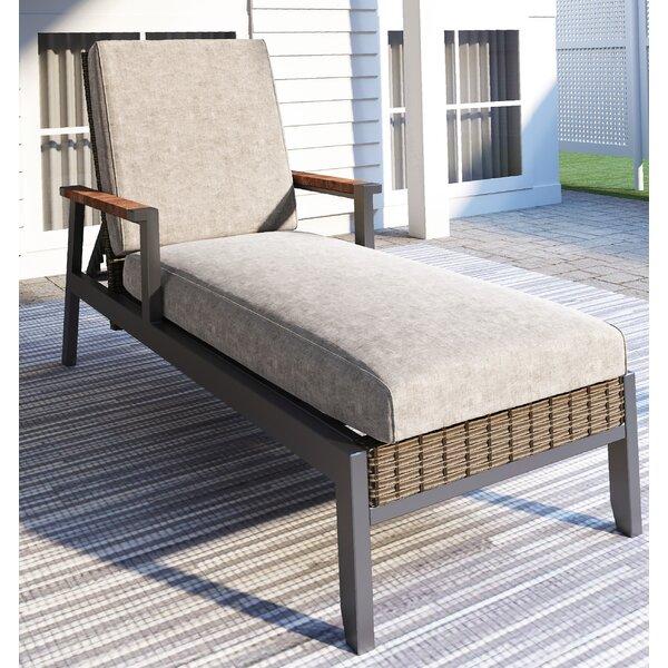 Semiha Woven Reclining Chaise Lounge with Cushion by Latitude Run Latitude Run