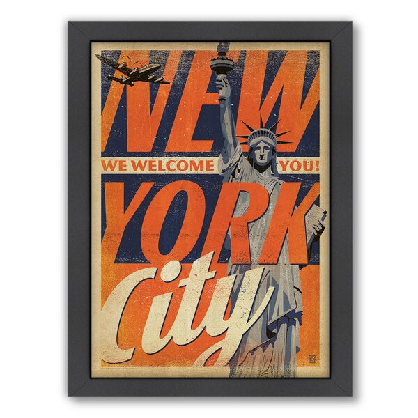 New York City Welcome You Framed Vintage Advertisement by East Urban Home