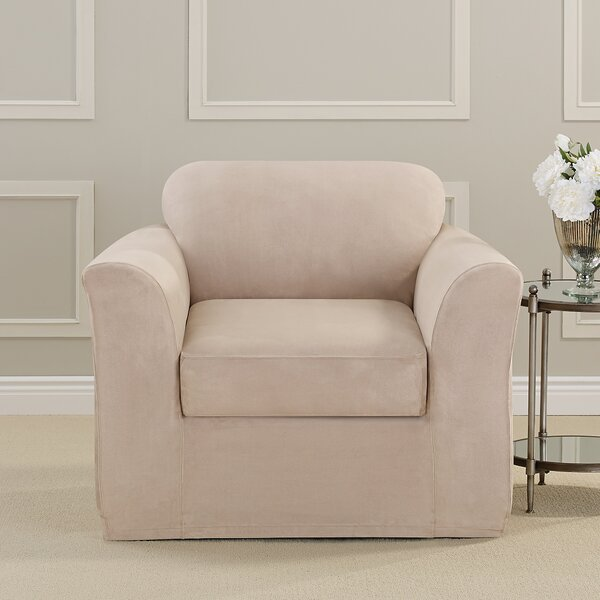 Ultimate Heavyweight Stretch Suede Box Cushion Armchair Slipcover by Sure Fit