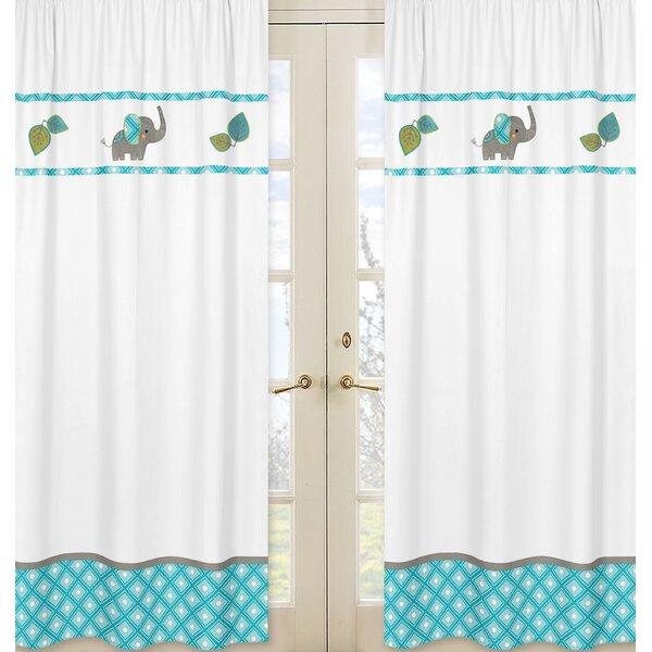 Mod Elephant Wildlife Semi-Sheer Rod pocket Curtain Panels (Set of 2) by Sweet Jojo Designs