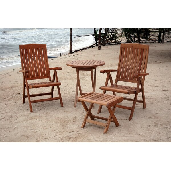 Farnam 4 Piece Teak Dining Set by Rosecliff Heights