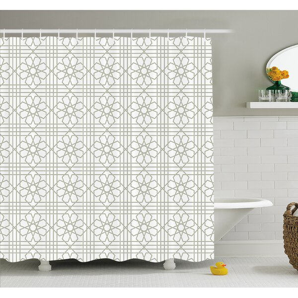 Arabesque Pattern Mosaic Tiles with Moroccan Floral Traditional Symmetric Artwork Shower Curtain Set by Ambesonne