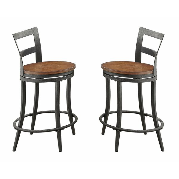 Kinsley Wood & Metal Counter Height Swivel Bar Stool (Set of 2) by 17 Stories