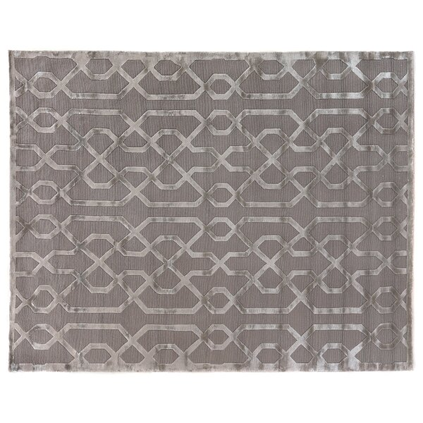 Hand-Knotted Wool/Silk Silver/Gray Area Rug by Exquisite Rugs