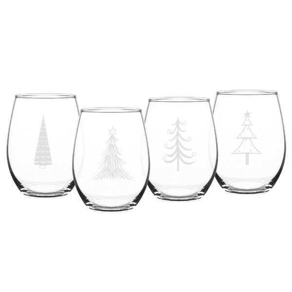 Holiday Trees 4-Piece Glass 21 oz. Stemless Red Wine Glass Set by The Holiday Aisle