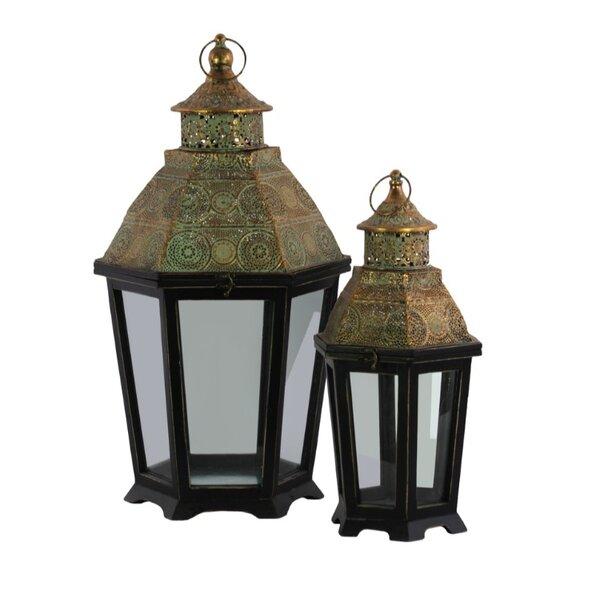 Hexagonal 2 Piece Wood Lantern Set by World Menagerie