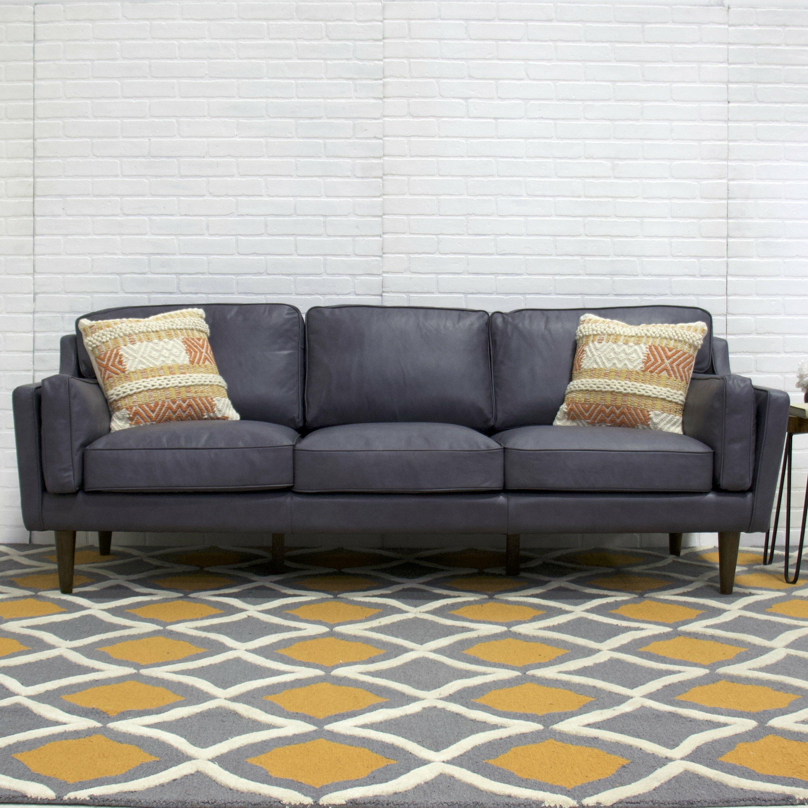Kaufman Mid Century Modern Leather Sofa & Reviews | AllModern