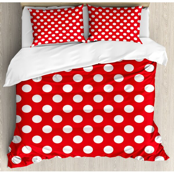 Retro 50s 60s Iconic Pop Art Style Big Polka Dots Picnic Vintage Old Theme Image Duvet Set by Ambesonne