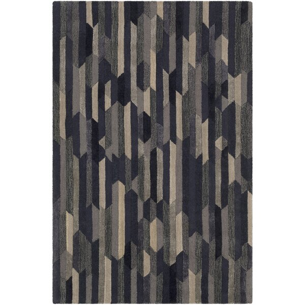 Borel Hand-Tufted Navy/Tan Area Rug by Ivy Bronx