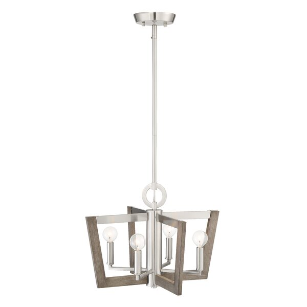 Ariah 4-Light Lantern Square / Rectangle Chandelier With Wood Accents By Brayden Studio