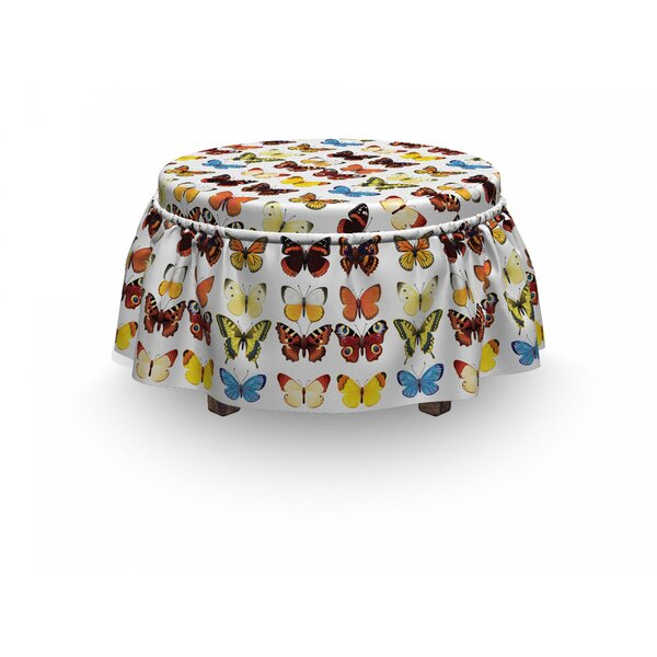 Animals Butterflies Many Shapes 2 Piece Box Cushion Ottoman Slipcover Set By East Urban Home