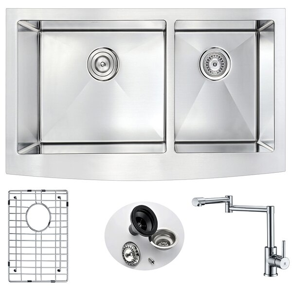 Elysian 36 x 21 Double Basin Farmhouse Kitchen Sink with Faucet and Drain Assembly by ANZZI