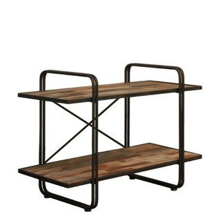 Duffy Wood and Metal 2-Tier Rectangular Standard Bookcase Williston Forge