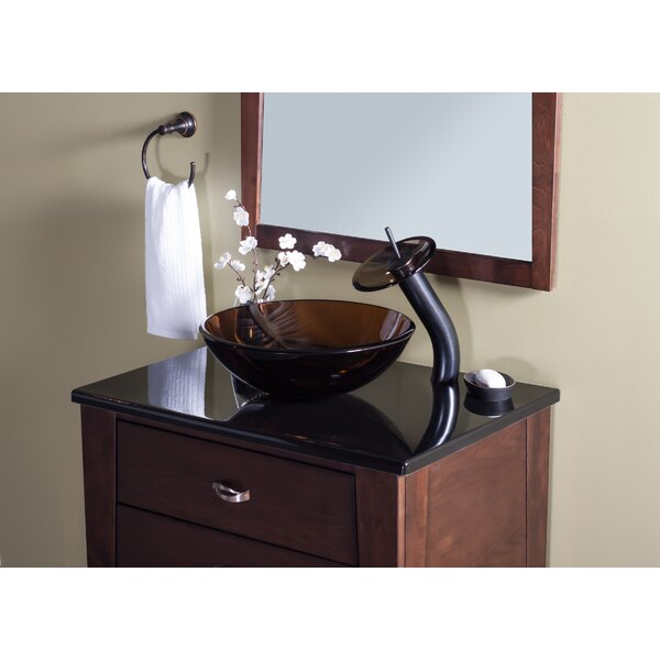 TY Glass Circular Vessel Bathroom Sink with Faucet