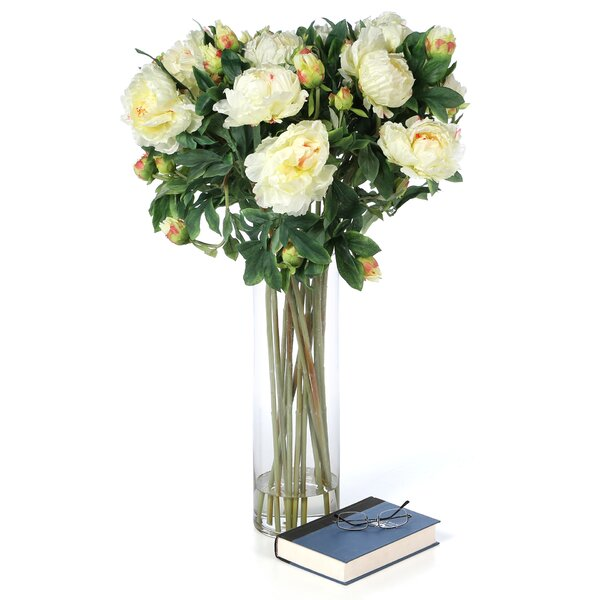Giant Peony Silk Flower Arrangement in White by Nearly Natural