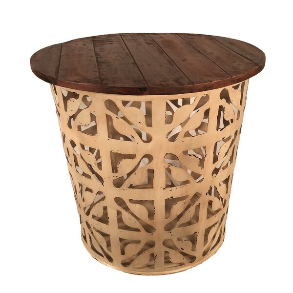 Outdoor/Indoor Drum Flower Metal Side Table by Eangee Home Design