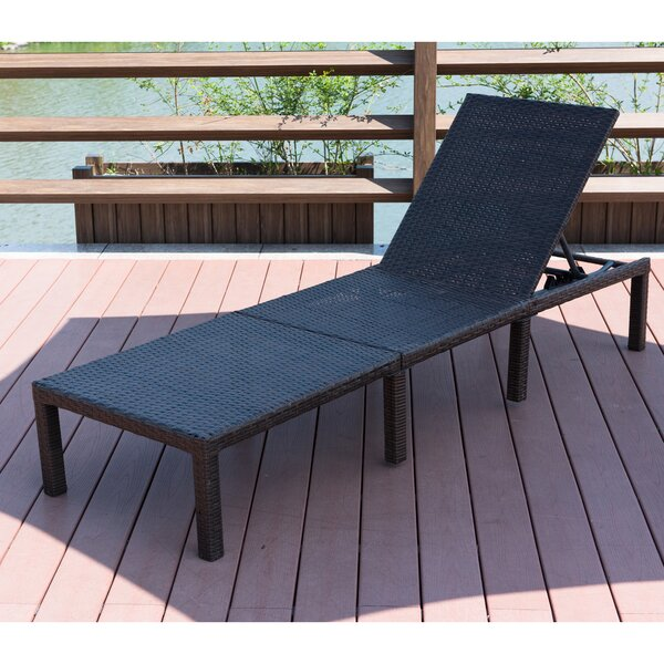Cavin Adjustable Wicker Chaise Lounge with Cushion by Highland Dunes