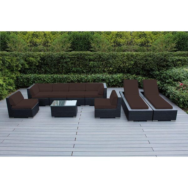 Barna 9 Piece Rattan Sunbrella Sectional Seating Group with Cushions by Orren Ellis