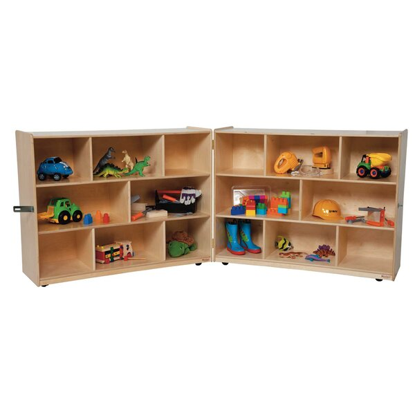Folding 16 Compartment Shelving Unit with Casters by Wood Designs