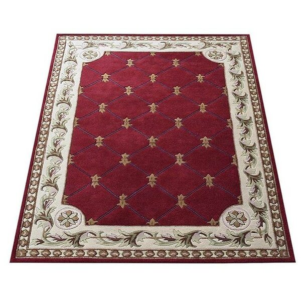 Knecht Hand-Tufted Wool Red/Beige Area Rug by Alcott Hill