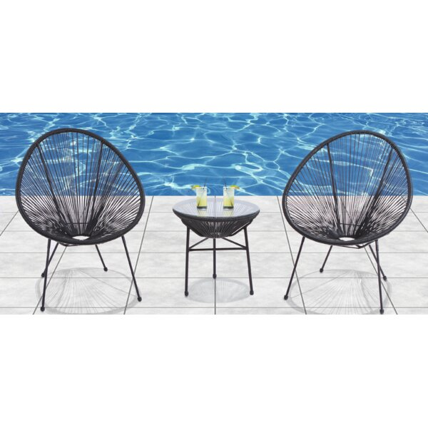 Zion 3 Piece Rattan 2 Person Seating Group by Langley Street