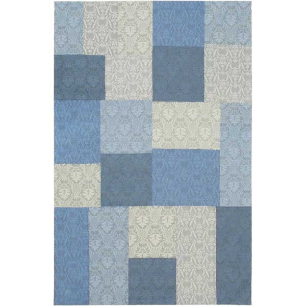 Collage Light Blue/Pale Dull Blue Patchwork Area Rug by ECARPETGALLERY