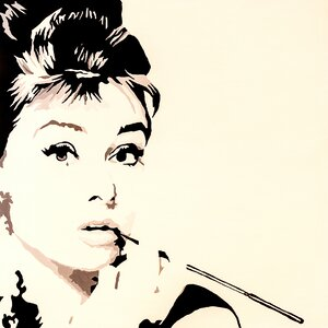 Just Smoking Audrey Hepburn Graphic Art on Wrapped Canvas by Buy Art For Less