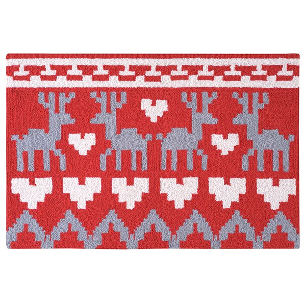 Gideon Reindeer and Hearts Christmas Wool Red Area Rug by Loon Peak