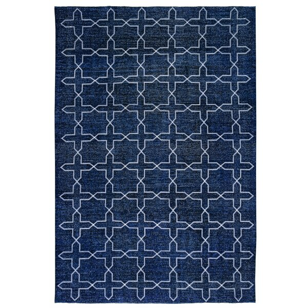 Ariandne Overdyed Hand-Knotted Wool Navy Area Rug