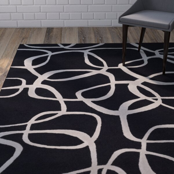 Himes Hand-Tufted Black/Light Gray Area Rug by Wrought Studio