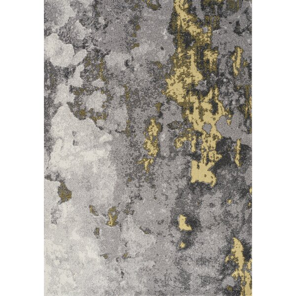 Atticus Abstract Expression Gray/Yellow Area Rug by 17 Stories