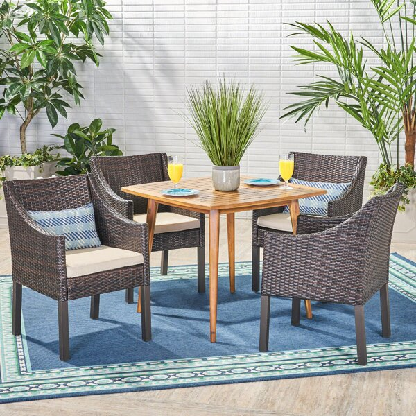 Elwell 5 Piece Teak Dining Set with Cushions by Wrought Studio