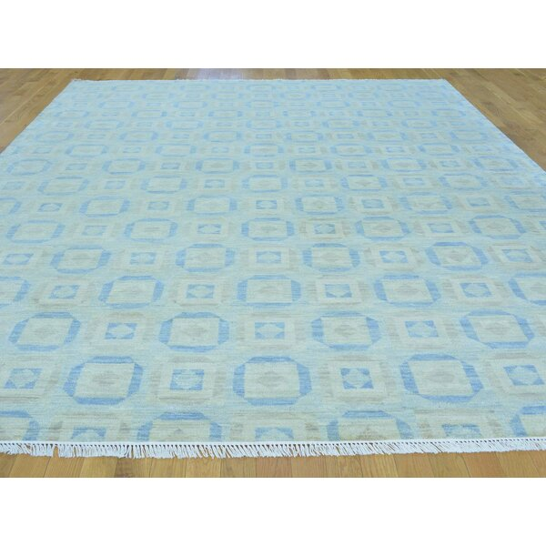 One-of-a-Kind Brand Hand-Knotted Grey Wool Area Rug by Isabelline