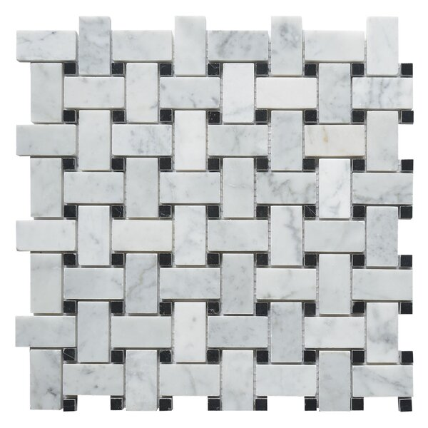 Carrara Honed Basketweave 1 x 2  Marble Mosaic Tile in White by Matrix Stone USA