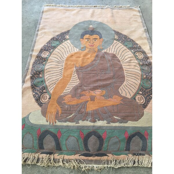 Buddha Hand-Knotted Beige/Blue Area Rug by Zarposh India