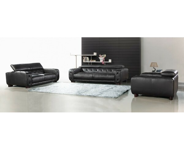 Oakhill Rosenberger 3 Piece Leather Living Room Set by Orren Ellis