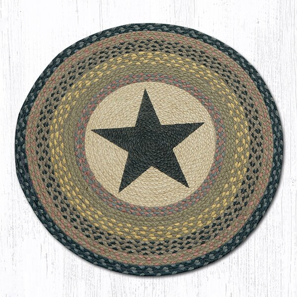 Black Star Printed Area Rug by Earth Rugs