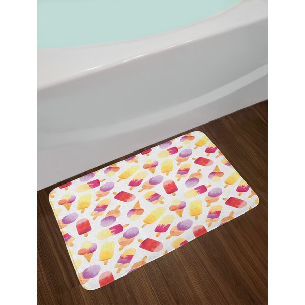 Watercolor Style Ice Cream Bath Rug by East Urban Home