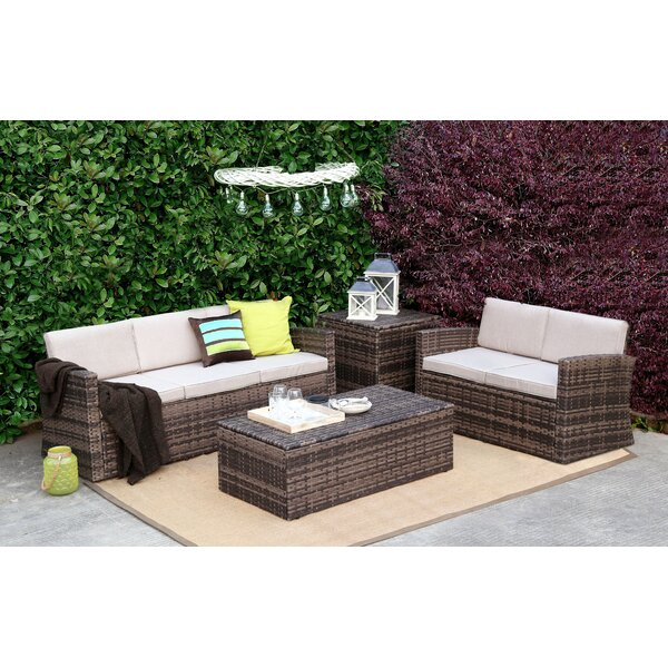 Ledger 4 Pieces Rattan Sofa Seating Group with Cushions by Highland Dunes