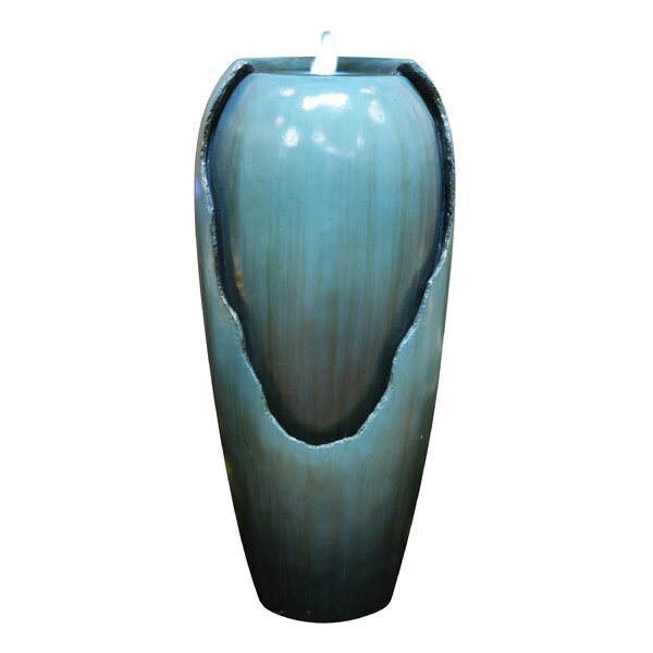 Cement and Fiberglass Jar Fountain with LED Light by Woodland Imports
