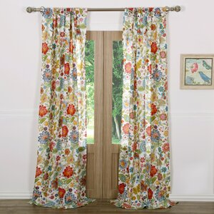 Heartwood Nature/Floral Sheer Rod Pocket Curtain Panels (Set of 2)